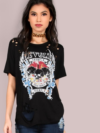 Laser Cut Skull Graphic Tee
