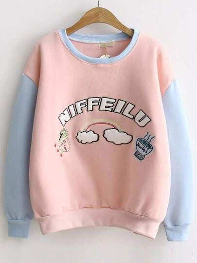 Color Block Letter Embroidery Sweatshirt