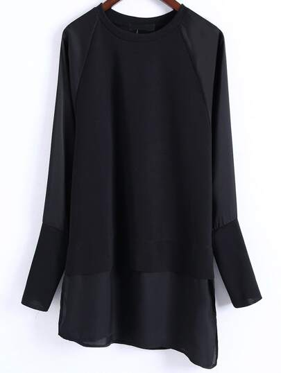Black Side Slit Asymmetrical 2 In 1 Blouse