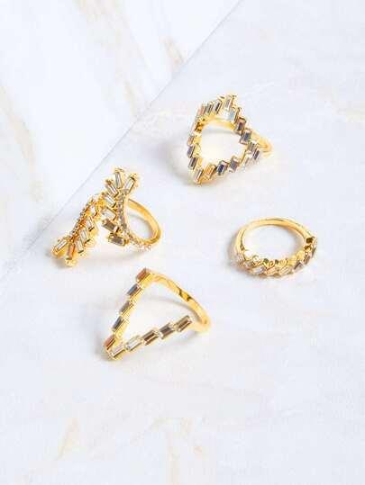 Set de anillos con strass - dorado