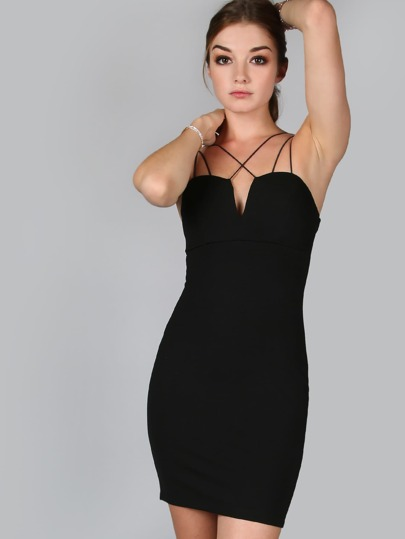 Black V Notch Crisscross Strappy Cami Bodycon Dress