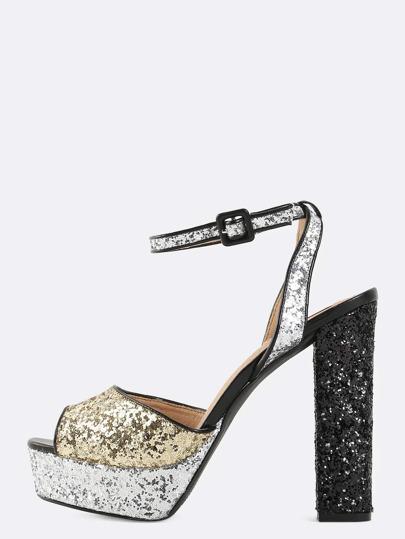 Platform Glitter Chunky Heels BLACK MULTI