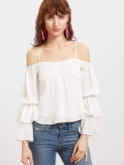 White Cold Shoulder Layered Ruffle Sleeve Top