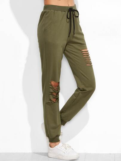 Olive Green Ripped Drawstring Sweatpants