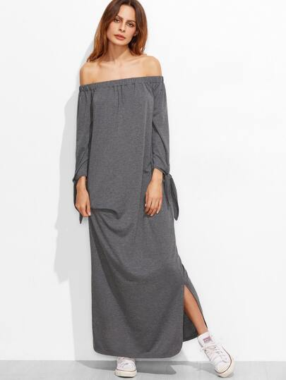 Heather Grey Off The Shoulder Tie Sleeve Side Slit Dress