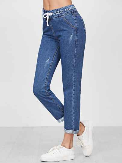 Blau Tunnelzug Band-Detail Cuffed Jeans