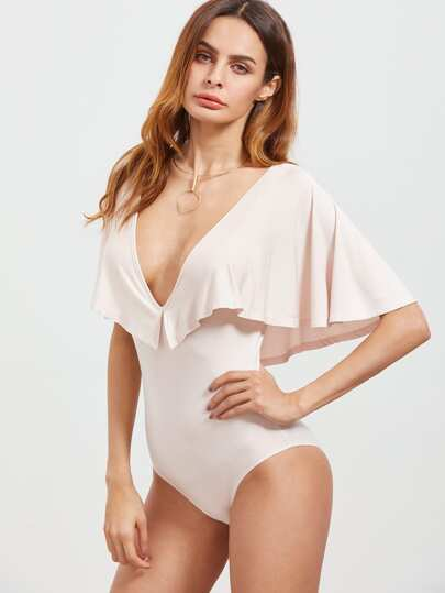 Pink Double Deep V Neck Cape Bodysuit