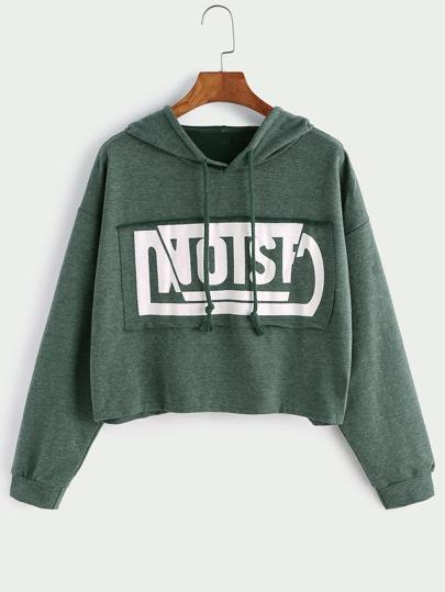 Green Hooded Drop Shoulder Patch Crop Sweatshirt