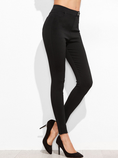 Black Skinny Raw Hem Jeans