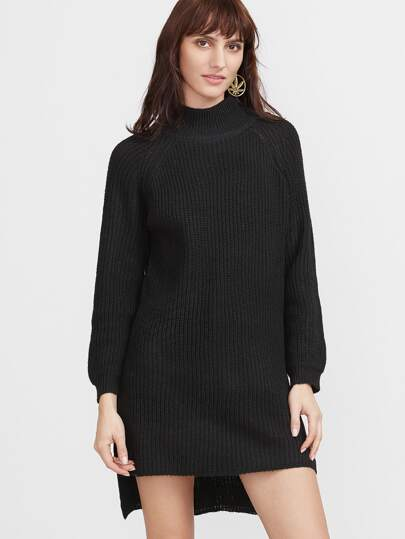 Black Turtleneck Side Slit High Low Sweater