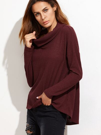 Burgundy Waffle Knit Cowl Neck Drop Shoulder T-shirt