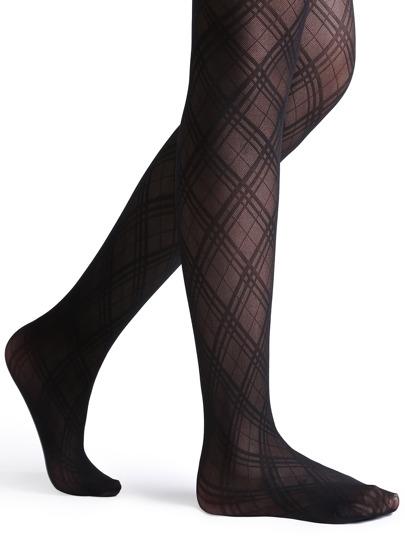 Black Criss-cross Stripe High Stretch Pantyhose Stockings