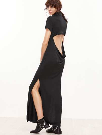 Black Cowl Neck Cutout Draped Back Side Slit Dress