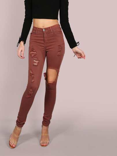 Cut Out Skinny Jeans MAUVE