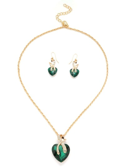 Gold Tone Heart Shape Green Gem Link Necklace Set