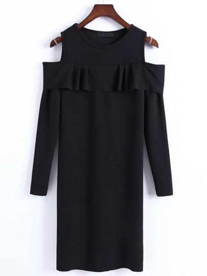 Black Open Shoulder Ruffle Bodycon Sweater Dress