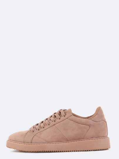 Round Toe Suede Sneakers MAUVE