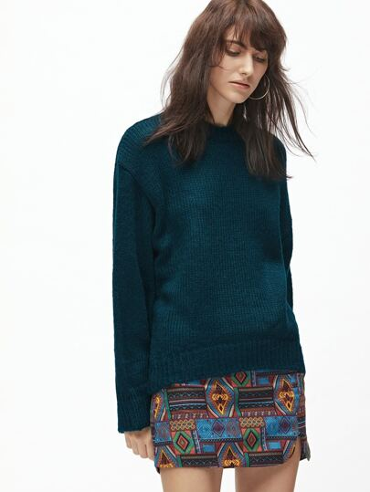 Green Drop Shoulder Loose High Low Sweater