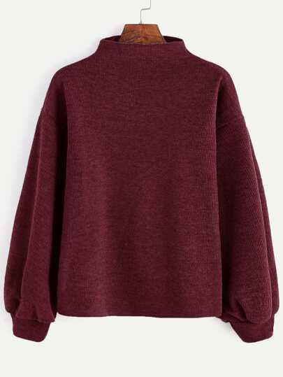 Pullover gerippte Laterne Ärmel-burgund rot