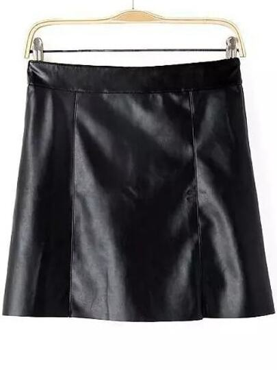 Black Zipper Back PU Skirt