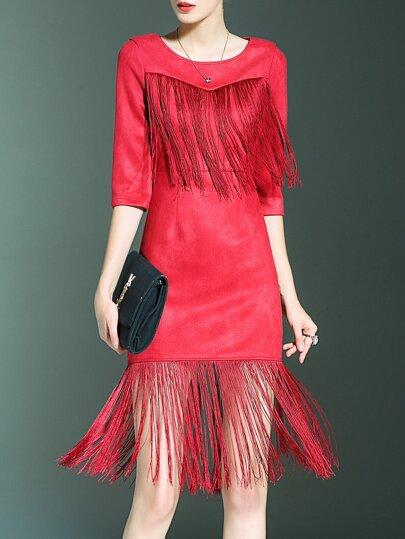 Robe fourreau contrasté franges -rouge