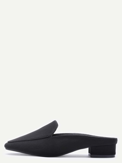 Black Suede Square Toe Block Heel Loafers