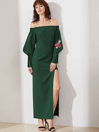 Green Off The Shoulder Embroidered Rose Applique High Slit Tailored Dress