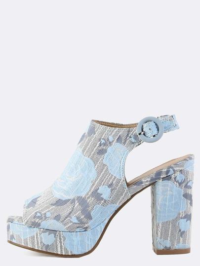 Platform Floral Chunky Mule Heels BLUE