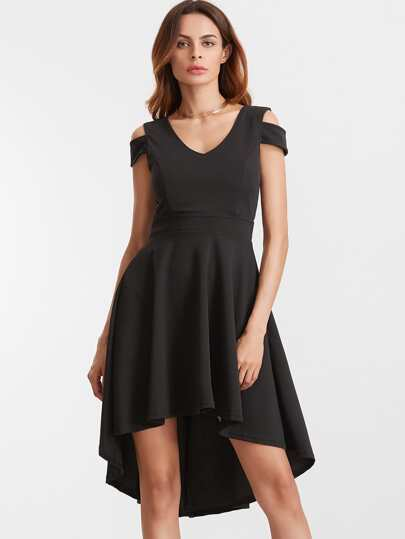 Black Deep V Back Cold Shoulder Flare High Low Dress