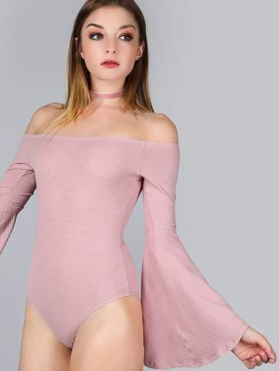 Body de punto con hombros al aire y manga acampanada - rosa