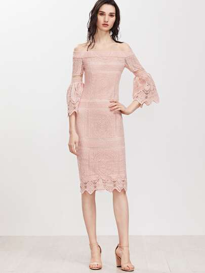 Bardot Neckline Fluted Sleeve Crochet Overlay Dress