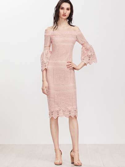 Pink Off The Shoulder Bell Sleeve Embroidered Crochet Overlay Dress