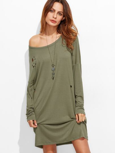 Olive Green Scoop Neck Drop Shoulder Distressed Tee Dress
