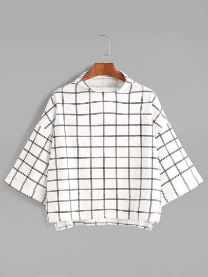 White Grid Funnel Neck Drop Shoulder T-shirt