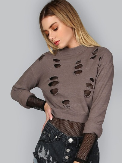 Long Sleeve Burn Out Pullover MOCHA