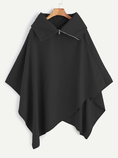 Asymmetrische Poncho Mantel Rollkragen -schwarz