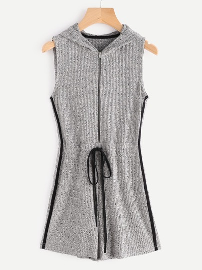 Grey Marled Ribbed Knit Zip Up Side Striped Hooded Romper