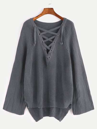 Dark Grey Eyelet Lace Up High Low Sweater