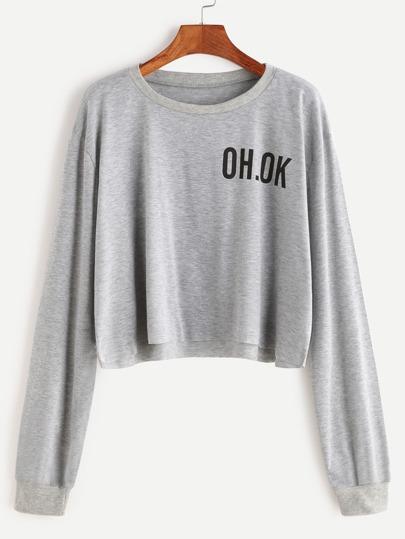 Grey Drop Shoulder Letter Print Raw Hem Crop Sweatshirt