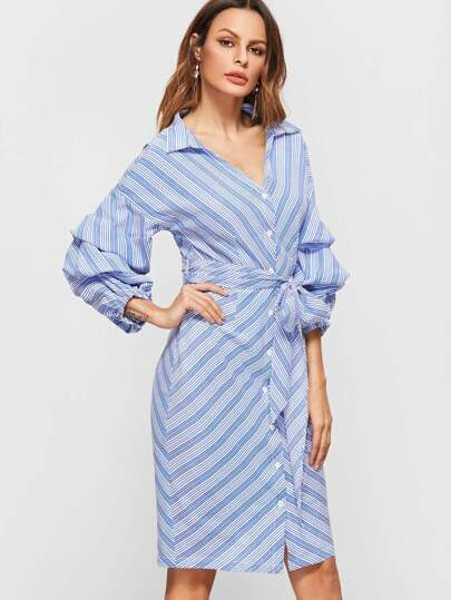 Blue And White Chevron Striped Billow Sleeve Belted Shirt Dress