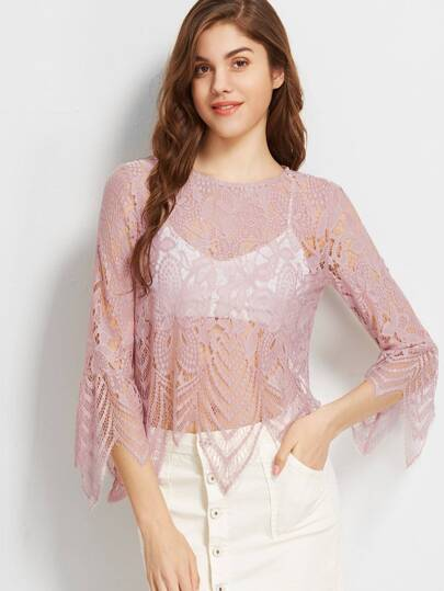 Pink Bell Sleeve Hollow Out Embroidered Lace Top