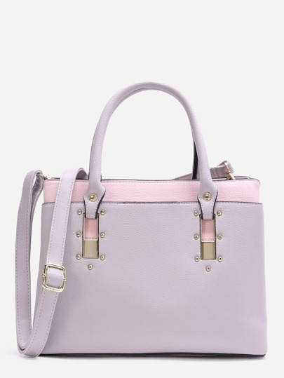 Grey Contrast Faux Leather Studded Handbag with Strap