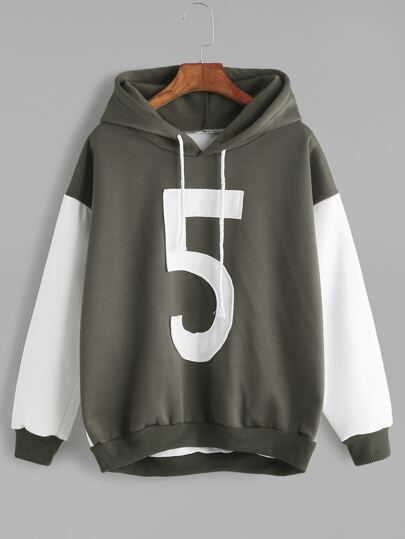 Color Block Hooded Number Patch Sweatshirt