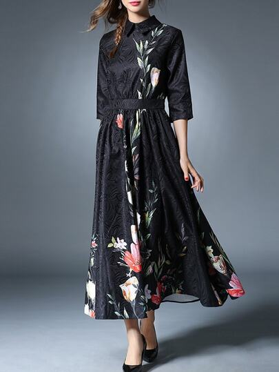 Black Flowers Print Jacquard Maxi Dress