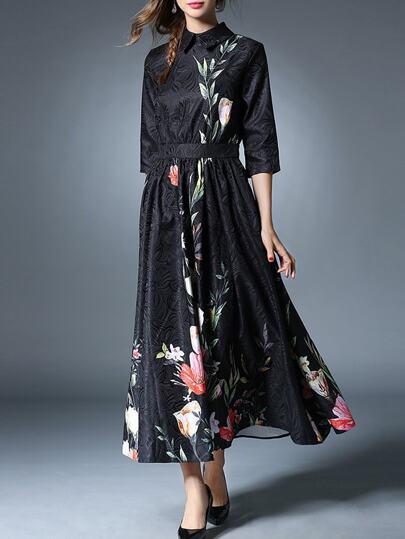 Vestido maxi de jacquar con estampado floral - negro
