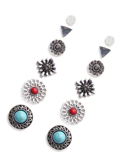 Gem Inlay Engraved Stud Earring Set 6PCS