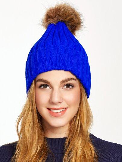 Chapeau à nervures tricoté pompom -bleu royal