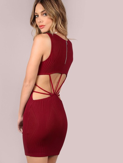 Diamond Jacquard Strappy Back Mini Dress BURGUNDY