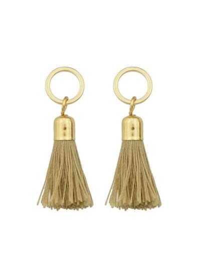 Khaki Color Long Tassel Earrings