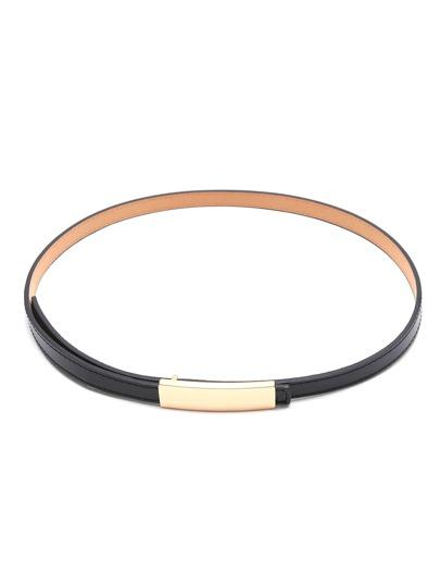Skinny Black Belt boucle dorée Faux cuir
